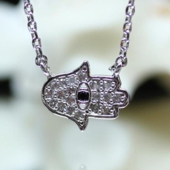 14kt Gold Dipped Pave Swarovski Hamsa Necklace